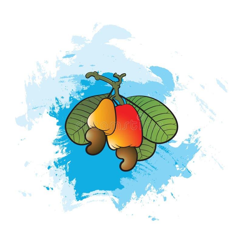 Kolorowy nerkodrzew i liście nad błękitnym koloru muśnięciem podsycamy ilustracja wektor