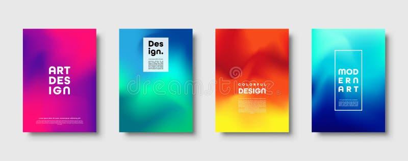 Kolorowy nowożytny abstrakcjonistyczny tło z neonowym czerwieni, zieleni, błękita, purpur, koloru żółtego i menchii gradientem, D royalty ilustracja