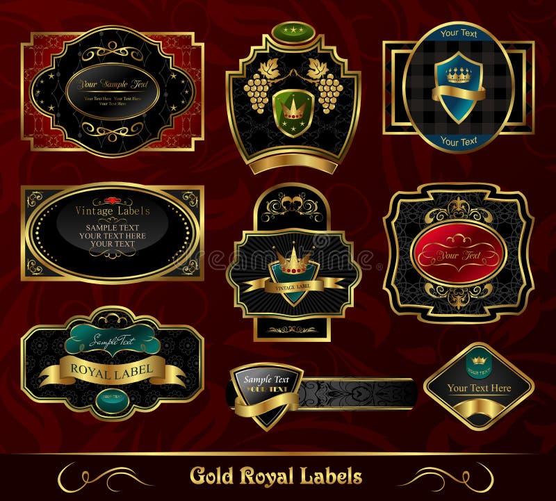 kolorowy obramiający złoto przylepiać etykietkę set royalty ilustracja