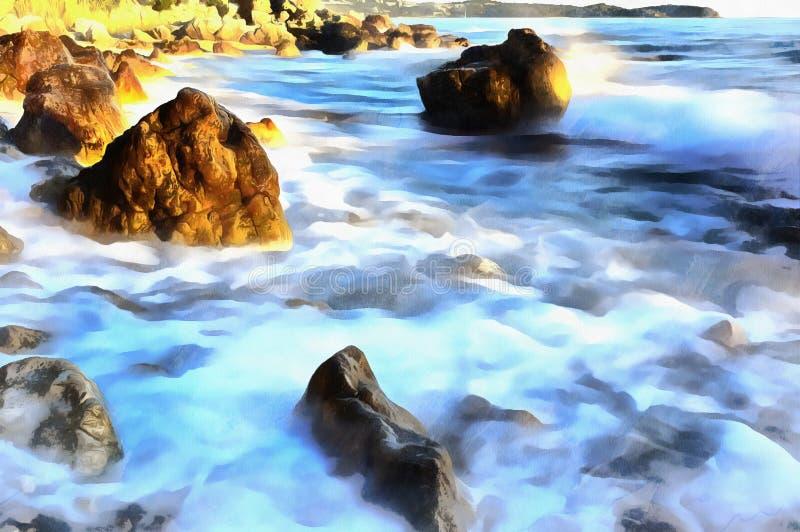 Kolorowy obraz Adriatycki denny wybrzeże przy zmierzchem royalty ilustracja