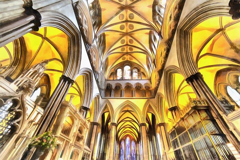 Kolorowy obraz Gocki Katedralny wnętrze royalty ilustracja