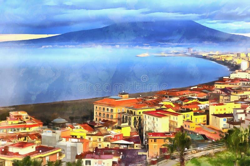Kolorowy obraz widok z lotu ptaka na górze Vesuvius fotografia stock