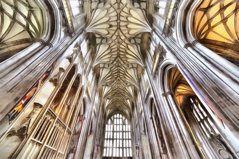 Kolorowy obraz Winchester katedry wnętrze royalty ilustracja