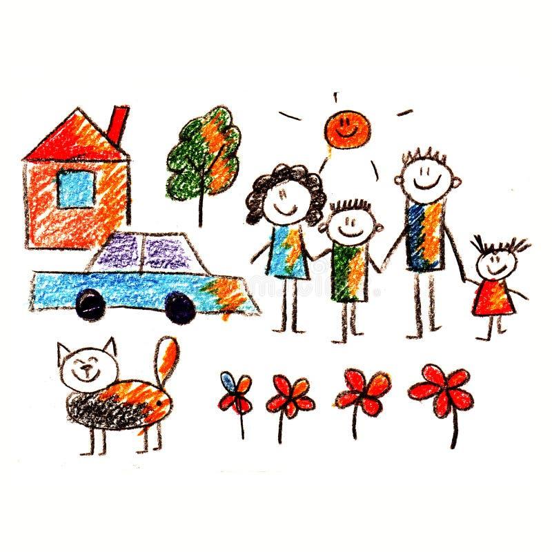 Kolorowy obrazek szczęśliwa rodzina ilustracji