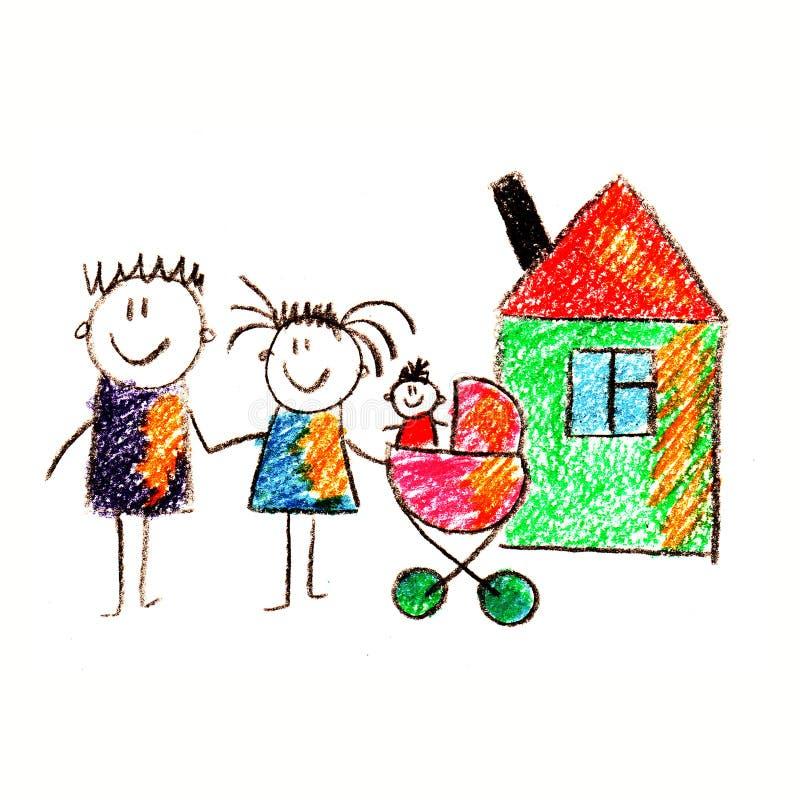 Kolorowy obrazek szczęśliwa rodzina ilustracja wektor