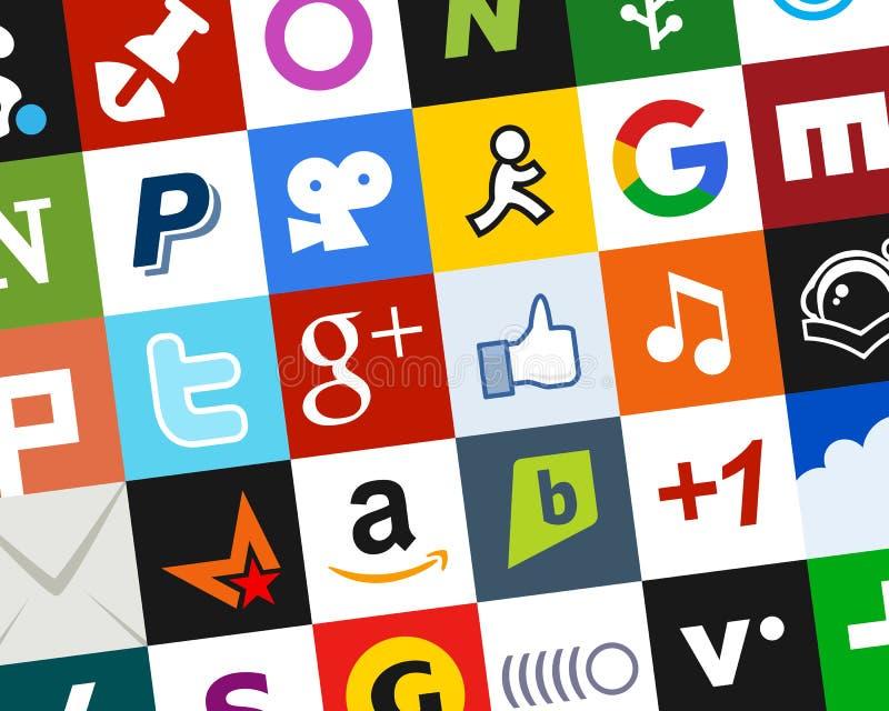 Kolorowy Ogólnospołeczny Medialny ikony tło [2] royalty ilustracja