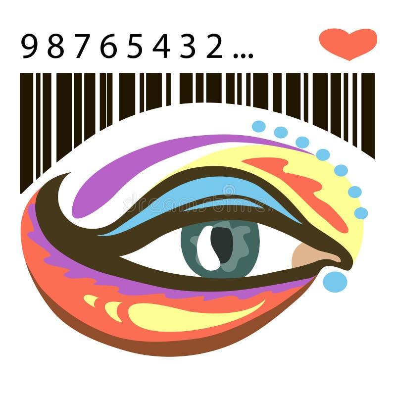 Kolorowy oko i barcode z sercem royalty ilustracja