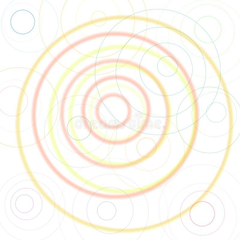 Kolorowy okrąg na białym tle, zieleń, kolor żółty, czerwień, menchia, pomarańcze, błękit, fiołek, purpura, brąz, szarzy okręgi tw royalty ilustracja