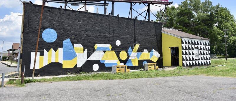 Kolorowy Olśniewa malowidło ścienne Blisko W centrum Memphis zdjęcie stock