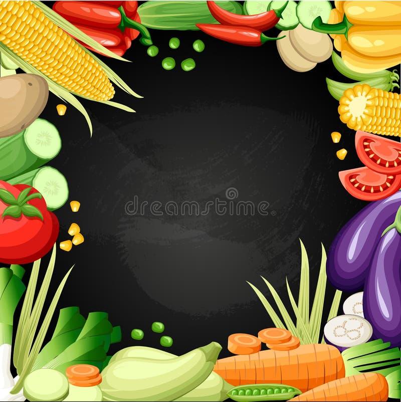 Kolorowy organicznie projekta pojęcie z dwa kolekcjami świezi warzywa i owoc w realistycznej stylowej ilustracyjnej sieci siedzim ilustracja wektor