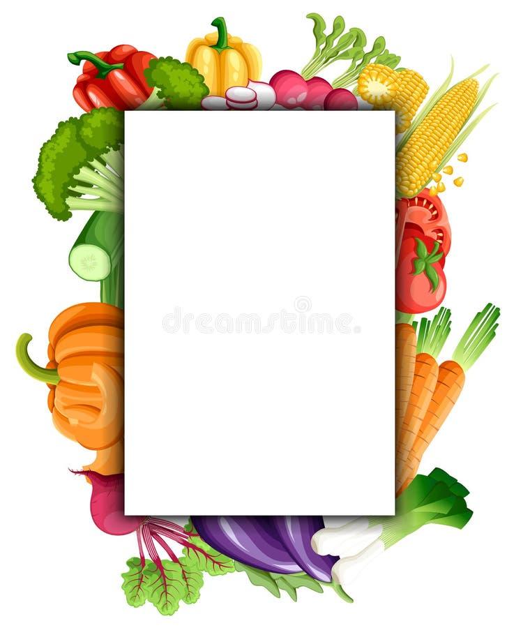 Kolorowy organicznie projekta pojęcie z dwa kolekcjami świezi warzywa i owoc w realistycznej stylowej ilustracyjnej sieci siedzim royalty ilustracja