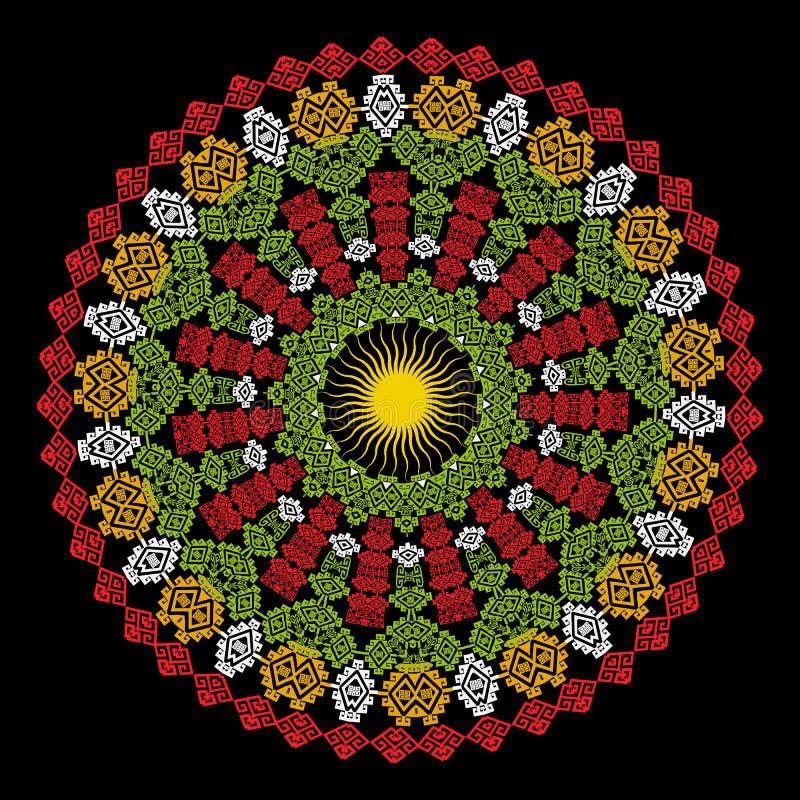 Kolorowy ornamentacyjny geometryczny grecki mandala wzór Etniczny stylowy abstrakcjonistyczny kwiecisty projekt z słońcem Geometr ilustracja wektor