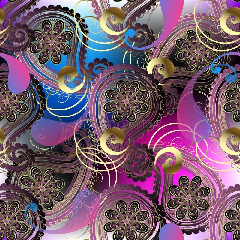 Kolorowy ornamentacyjny koronkowy Paisley bezszwowy wzór Wektorowy jarzy się jaskrawy kwiecisty tło Półprzezroczyści fiołkowi Pai ilustracja wektor