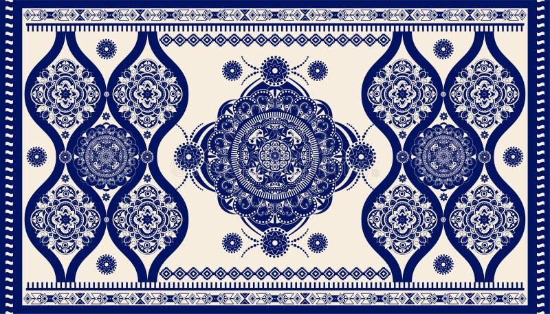 Kolorowy ornamentacyjny wektorowy projekt dla dywanika, dywan, tapis Pers, Indyczy dywanik Geometryczny kwiecisty t?o Abstrakt royalty ilustracja