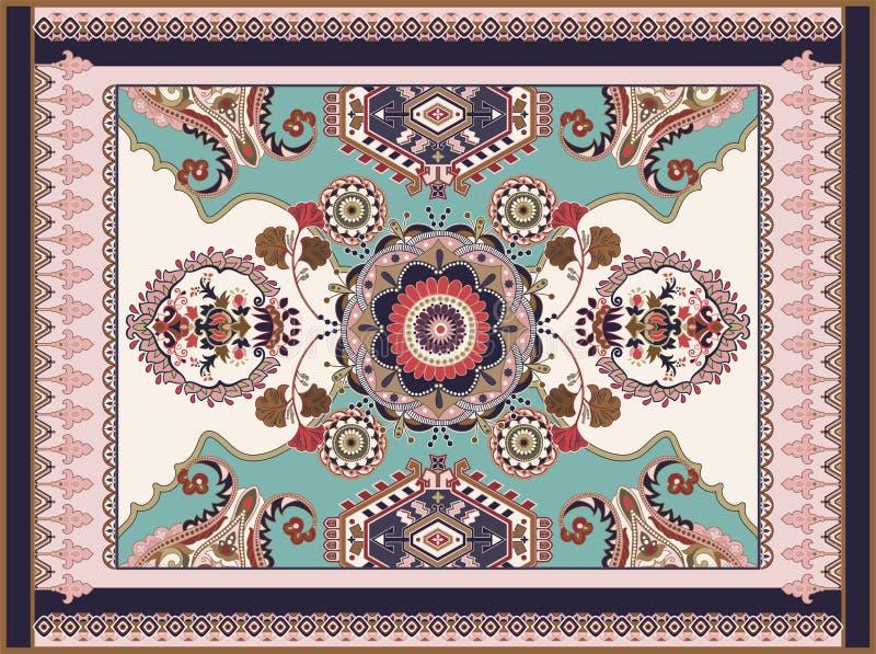 Kolorowy ornamentacyjny wektorowy projekt dla dywanika, dywan, tapis Perski dywanik, tkanina Geometryczny kwiecisty t?o arabians royalty ilustracja