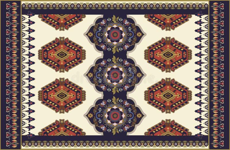 Kolorowy ornamentacyjny wektorowy projekt dla dywanika, dywan, tapis Perski dywanik, tkanina Geometryczny kwiecisty t?o arabians ilustracji