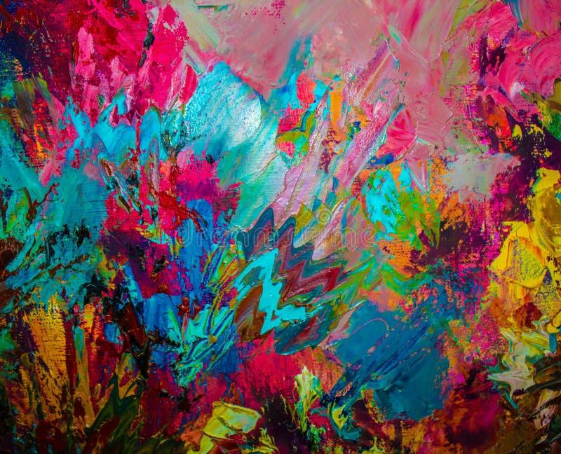Kolorowy oryginalny abstrakcjonistyczny obraz olejny, tło fotografia stock