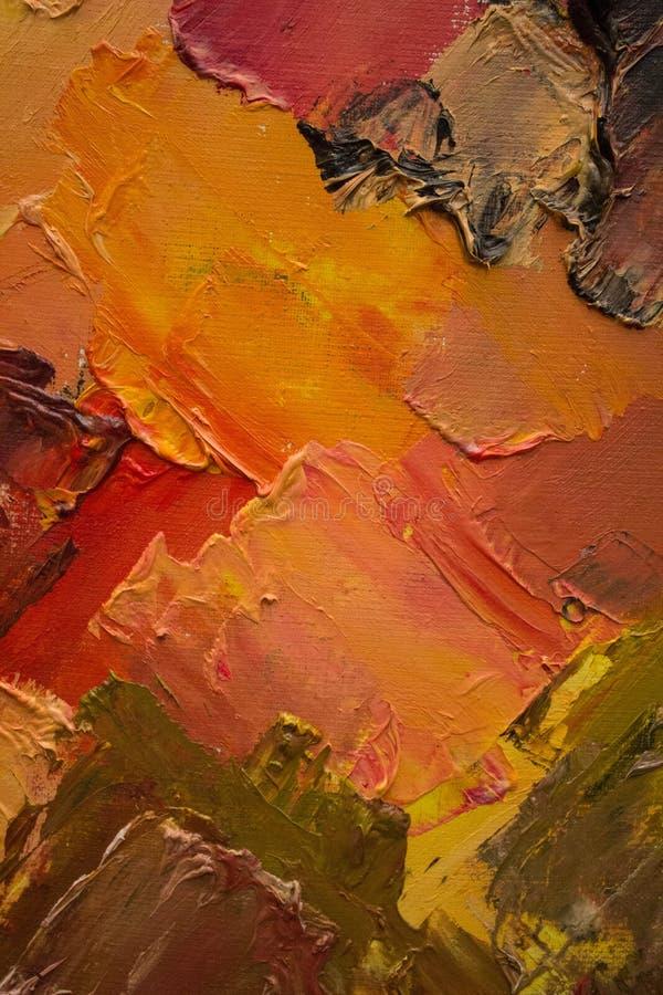 Kolorowy oryginalny abstrakcjonistyczny obraz olejny, tło zdjęcia stock
