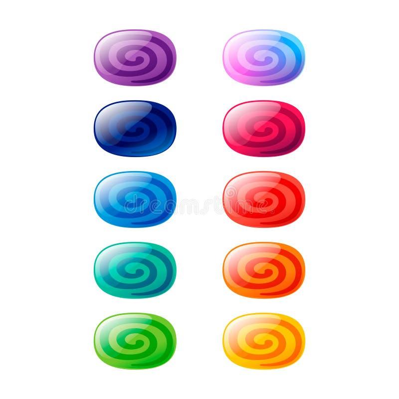 Kolorowy owal, elipsa glansowani cukierki z spiralami ustawiać ilustracja wektor
