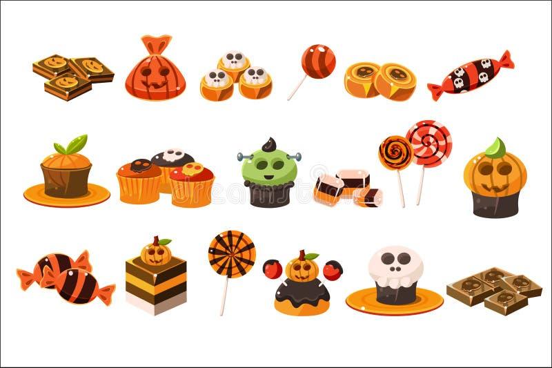 Kolorowy płaski wektorowy ustawiający różnorodni Halloweenowi cukierki Lizaki, wyśmienicie babeczki i czekolada, desery smakowici royalty ilustracja