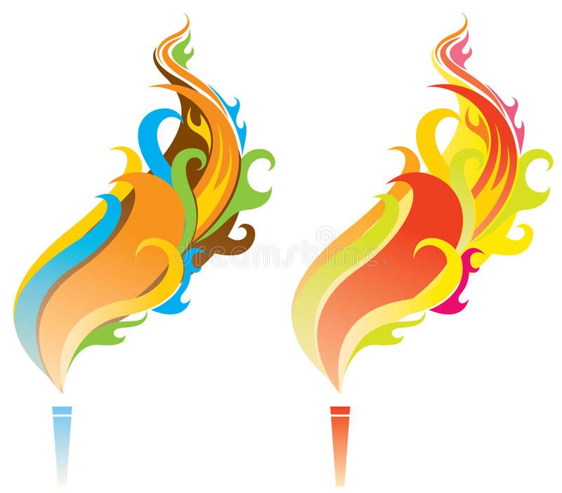Kolorowy płomień royalty ilustracja