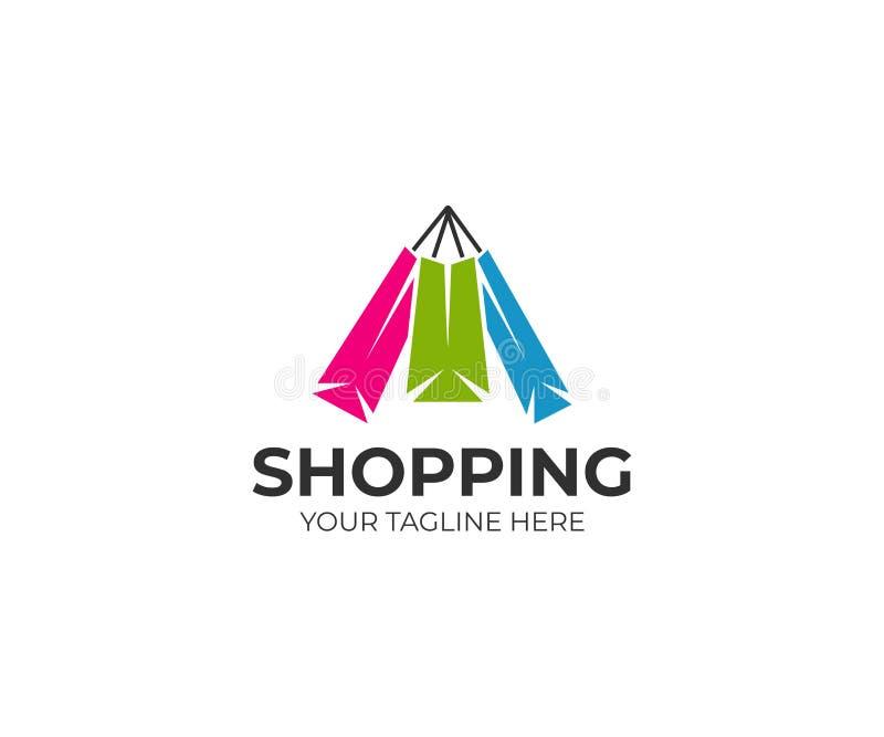 Kolorowy papierowy torba na zakupy loga szablon Zakupu wektorowy projekt ilustracji