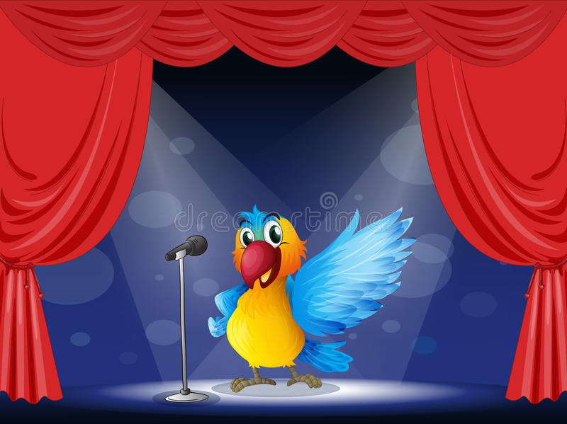 Kolorowy papuzi spełnianie na scenie royalty ilustracja