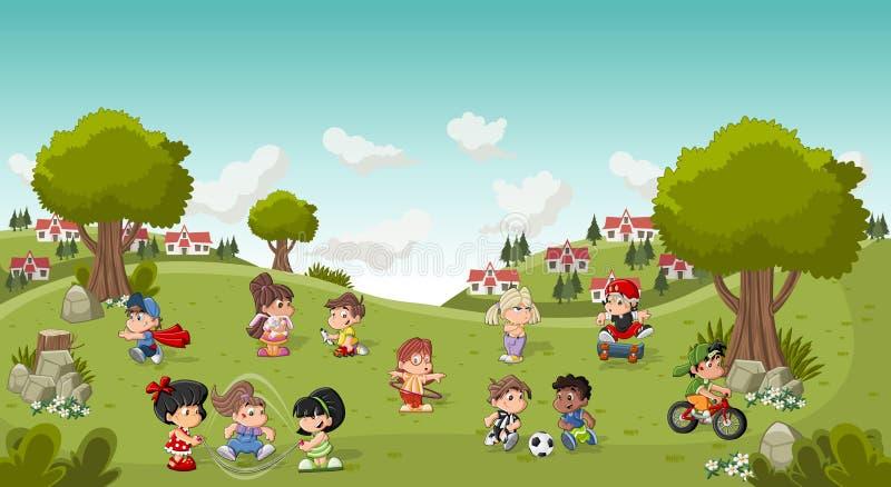 Kolorowy park w mieście z kreskówek dzieci bawić się ilustracji