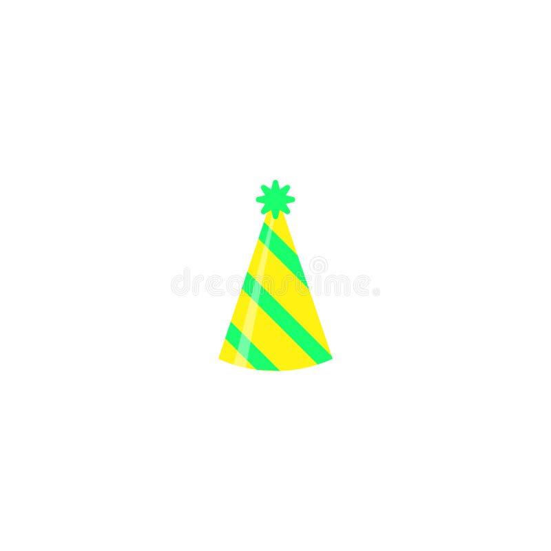Kolorowy partyjny kapelusz odizolowywający na białym tle Akcesorium, symbol wakacje Urodzinowa Kolorowa nakrętka wektoru ilustrac royalty ilustracja