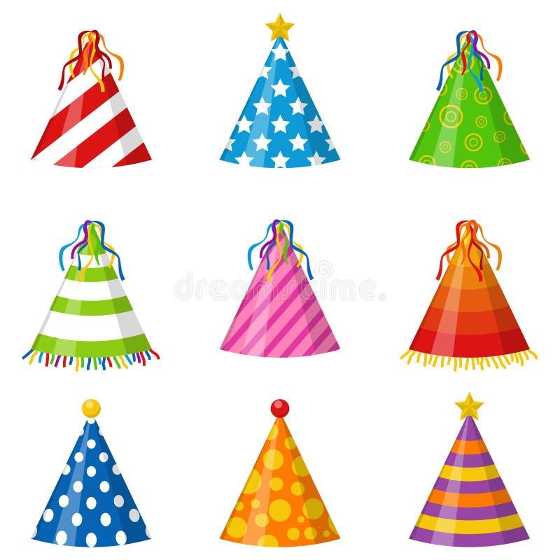 Kolorowy Partyjny kapeluszu rożek ustawia odosobnionego na białym tle Akcesorium, symbol wakacje Urodziny nakrętki ustawiać ilustracja wektor
