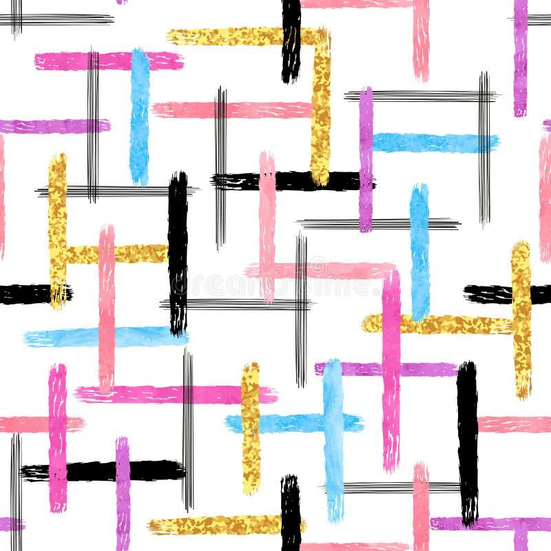 Kolorowy pasiasty bezszwowy wzór Ręka rysujący akwarela lampasy i muśnięć uderzenia ilustracja wektor
