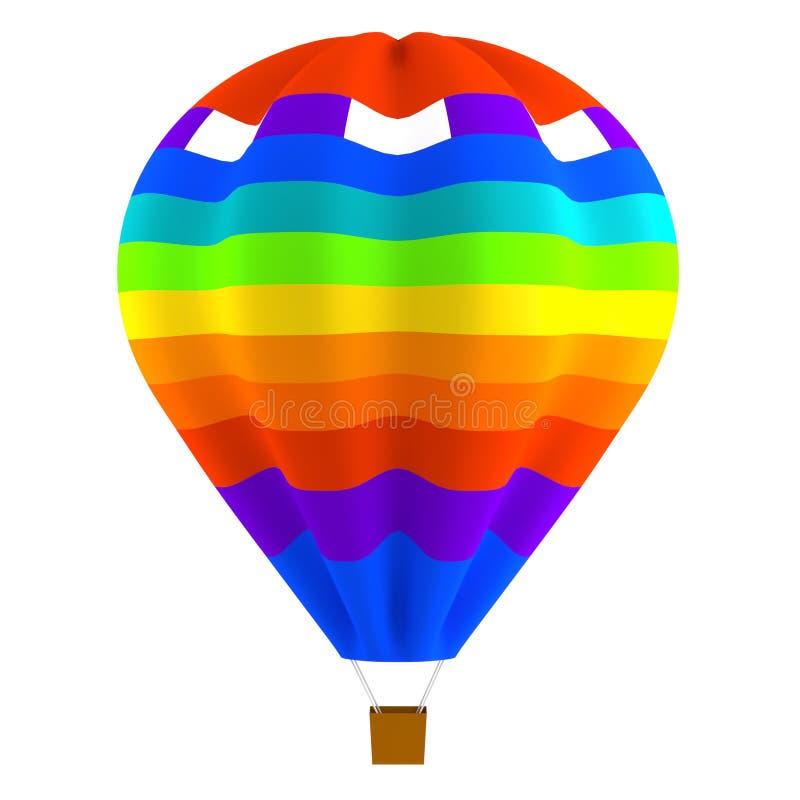Kolorowy pasiasty gorące powietrze balon odizolowywający ilustracja wektor