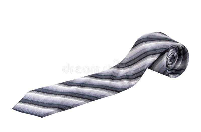 Kolorowy, paskowany krawat dżentelmenów, wyizolowany na białym fotografia stock