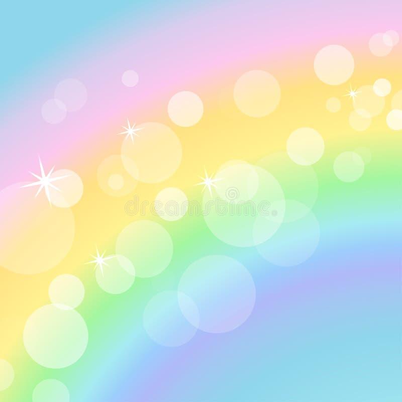 Kolorowy pastelowy tło z tęczą i bokeh ilustracja wektor