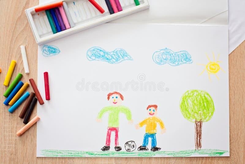 Kolorowy pastelu oleju dzieci i kredek ` s rysunek fotografia royalty free