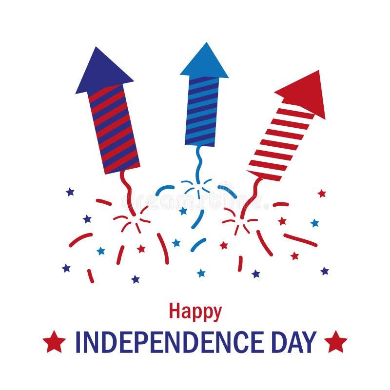Kolorowy petardy świętowanie ustawiający dla dnia niepodległości usa ilustracji