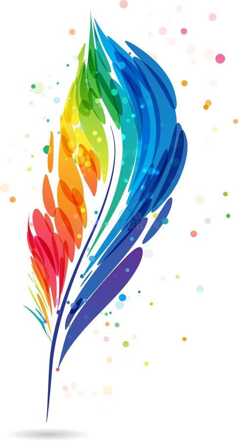 Kolorowy piórkowy pióro ilustracja wektor