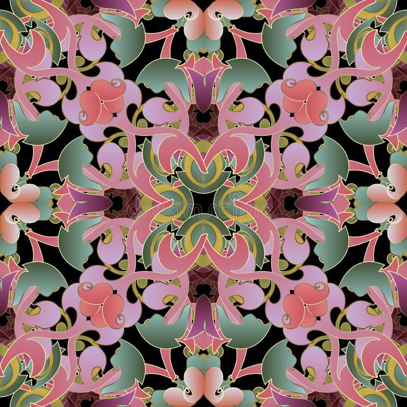 Kolorowy piękny kwiecisty Paisley wektorowy bezszwowy wzór Elegancji zawijas deseniujący tło Powtórki dekoracyjny tło ilustracja wektor