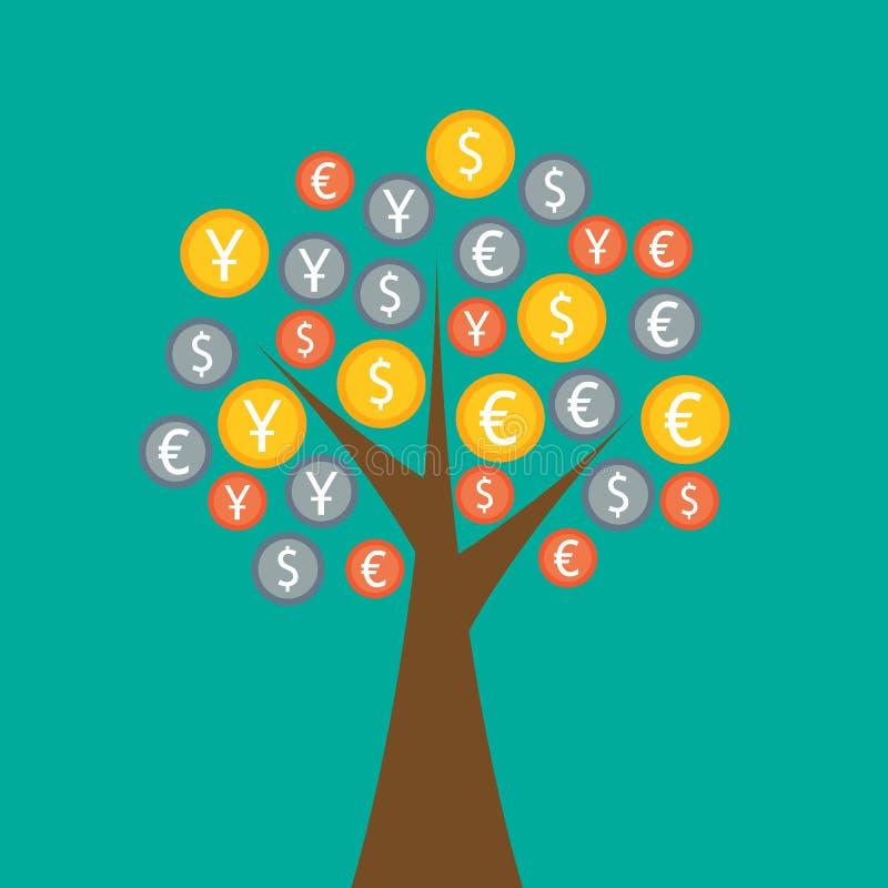 Kolorowy pieniądze drzewo ilustracja wektor