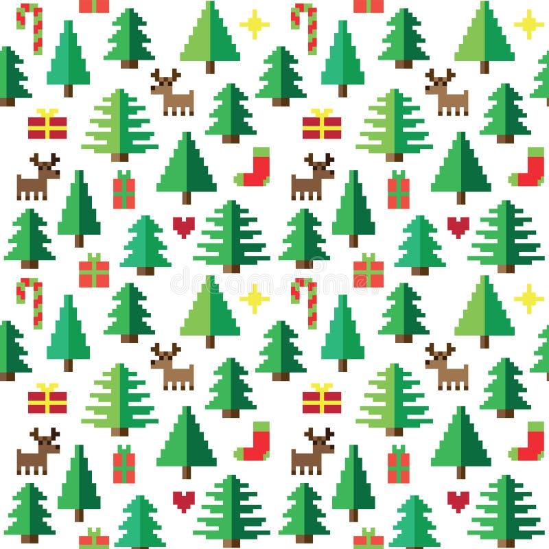 Kolorowy piksla wzór z Bożenarodzeniowymi elementami w lesie ilustracja wektor