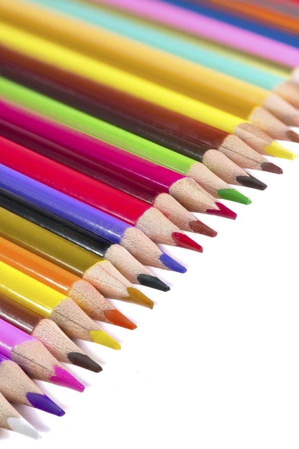 Kolorowy pionowo plakat z jaskrawymi wibrującymi drewnianymi ołówkami obrazy royalty free