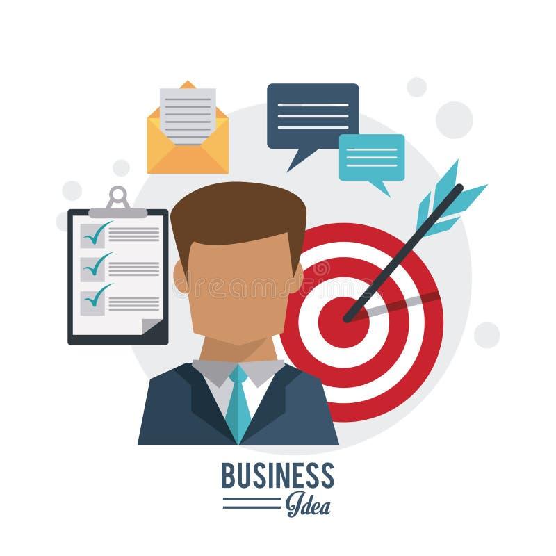 Kolorowy plakat biznesowy pomysł z przyrodniego ciała biznesowego mężczyzna i celu beztwarzową ikoną ilustracja wektor