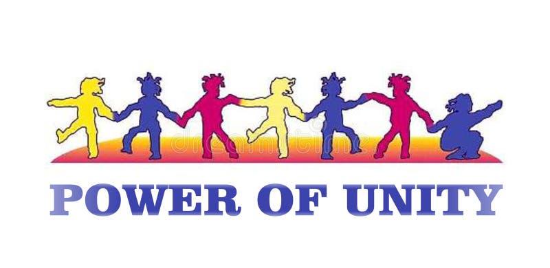 Kolorowy plakat dzieci pokazuje władzę jedność komputer wytwarzał ilustracyjnego wizerunku projekt ilustracja wektor
