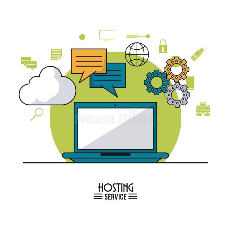 Kolorowy plakat gościć usługa z laptopem i ikony chmura usługujemy i narzędzia na wierzchołku ilustracja wektor