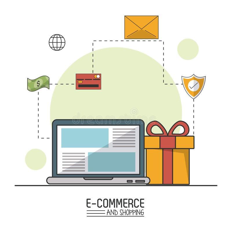 Kolorowy plakat handel elektroniczny i zakupy z laptopem i prezentem w zbliżeniu i kupienie procesie ilustracja wektor