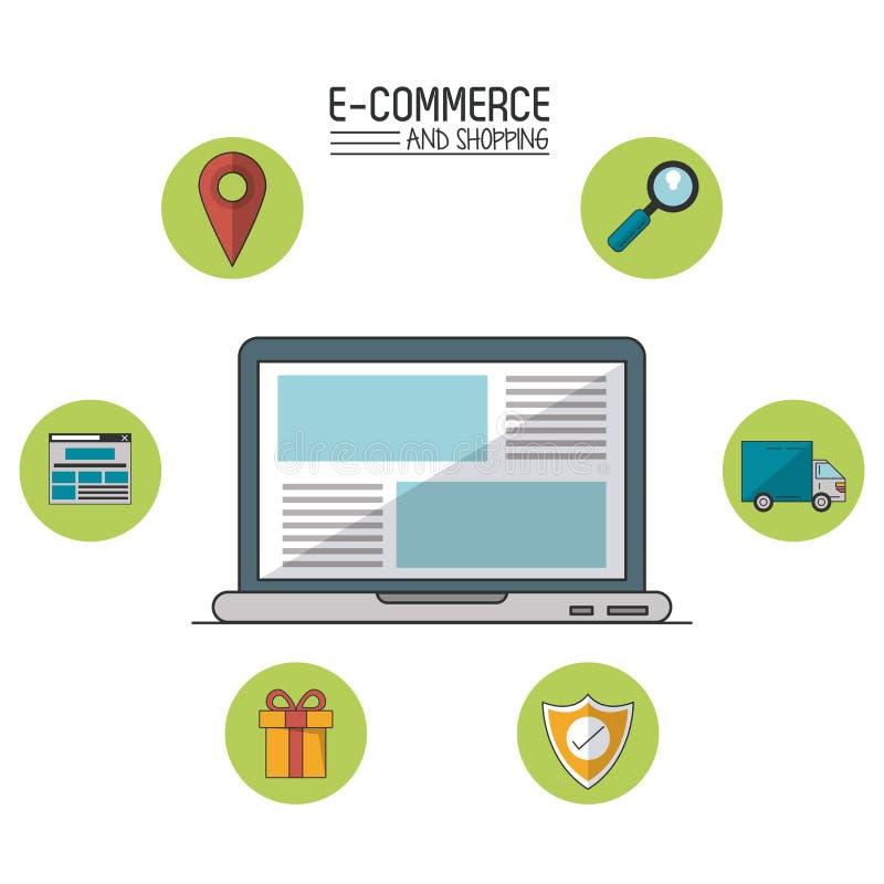 Kolorowy plakat handel elektroniczny i zakupy z laptopem w ikonach w sferach wokoło zbliżenia i handlu royalty ilustracja