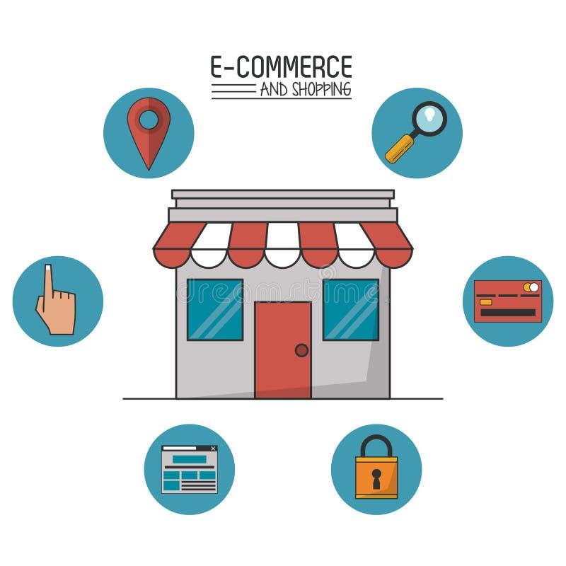 Kolorowy plakat handel elektroniczny i zakupy z sklepem w ikonach w sferach wokoło zbliżenia i handlu royalty ilustracja