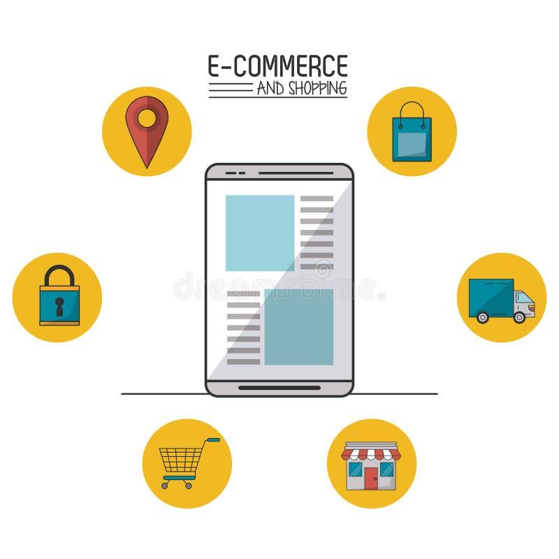 Kolorowy plakat handel elektroniczny i zakupy z smartphone w ikonach w sferach wokoło zbliżenia i handlu ilustracja wektor
