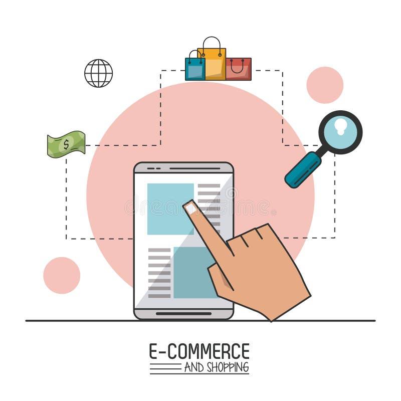 Kolorowy plakat handel elektroniczny i zakupy z smartphone w zbliżeniu i kupienie procesie ilustracji