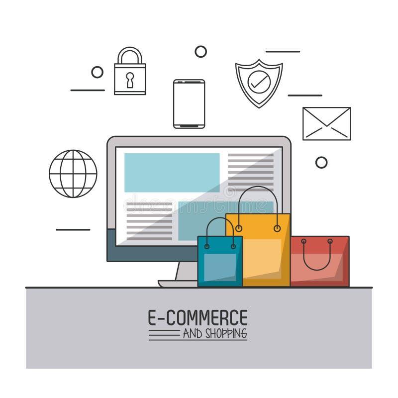 Kolorowy plakat handel elektroniczny, zakupy z i monochromatyczne ikony na wierzchołku komputerem stacjonarnym i torba na zakupy royalty ilustracja